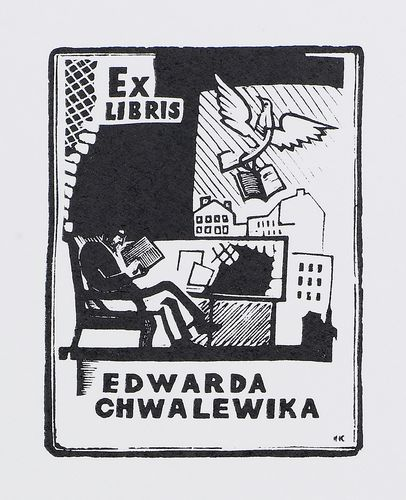 Bookplate of E. Hvalevik (first version)